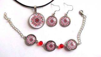 Set femei, set bijuterii motiv traditional rosu si negru 32289