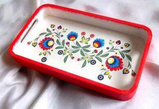Tava model floral traditional, tava lemn model floral stilizat 32201 poza 1