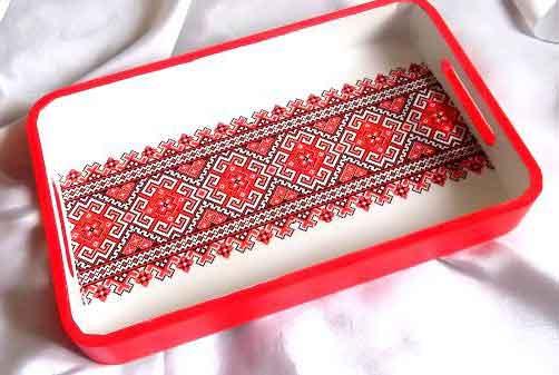 Tava model traditional culoare rosie, tava servire masa 32203