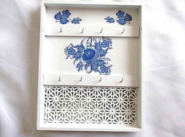 Cuier flori stilizate albastre, cuier chei model 32468
