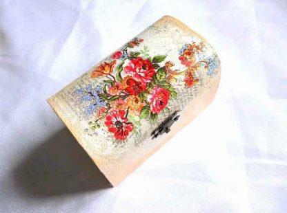 Cutie cu flori de camp rosii, galbene, albastre, cutie de lemn 32669