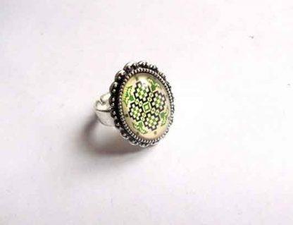 Inel motiv traditional, cruce stilizata negru, verde si galben, inel 32402