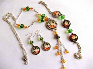 Set bijuterii culori vii, cadou culori portocaliu cu verde 32416