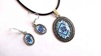 Set motive traditionale culoare albastra, set bijuterii femei 32295
