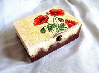 Buchet lalele rosii pe fundal galben, cutie lemn 32513