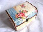 Cutie din lemn natural cu model floral, cutie lemn 27947