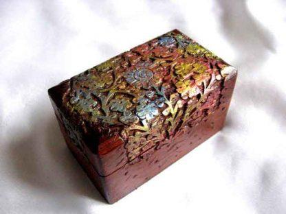 Cutie lemn sculptata cu model floral, cutie lemn 27957
