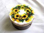 Cutie rotund coronita flori floarea soarelui, cutie lemn 28475