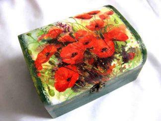 Maci rosii pe camp si alte flori de tara, cutie lemn 28043