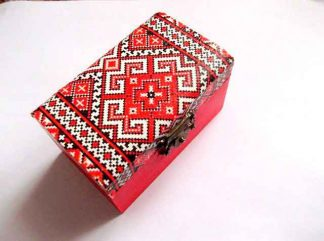 Motiv traditional rosu, gri si negru, cutie de lemn 31992