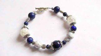 Bratara cristale de stanca, agate si lapis lazuli, bratara femei 32147