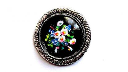 Brosa cu flori campenesti, brosa metal si sticla 32237