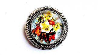 Brosa cu flori galbene si rosii, brosa metal si sticla 32237