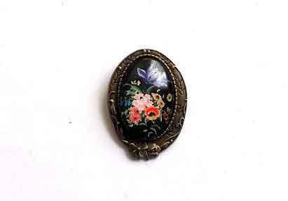 Brosa ovala cu model floral, bijuterie cadou femei 32276