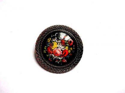 Brosa rotunda cu model floral, brosa metal si sticla 32380