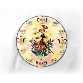 Ceas cu cescute si ceainice, ceas de perete cu flori de camp 131219