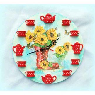 Ceas cu cizma rosie cu buline albe cu floarea soarelui, ceas perete 1596