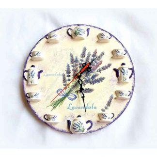 Ceas cu flori de lavanda, ceas de perete cu cescute si ceainice tridimensionale 132905