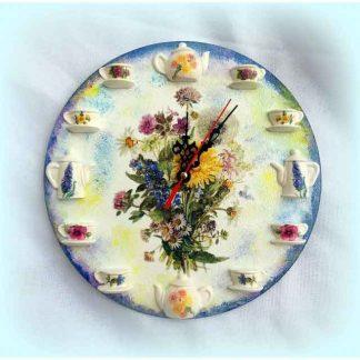 Ceas cu flori de levantica, maci, flori de musetel, albastrele, ceas perete 120709