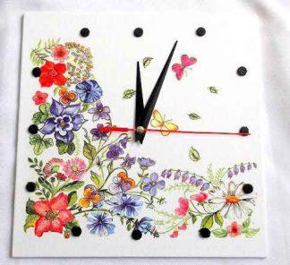 Ceas cu flori si fluturi, ceas de perete model 32542