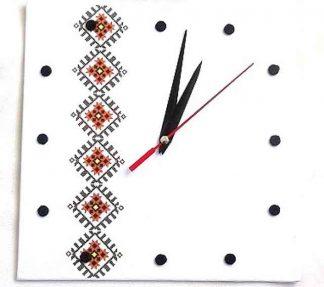 Ceas cu maci stilizati, ceas de perete cu motiv traditional 32023