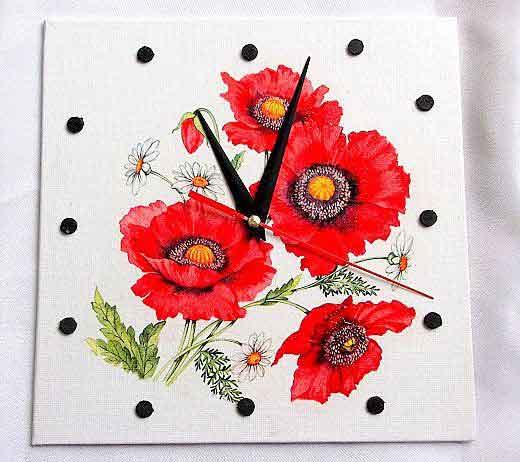 Ceas cu macii rosii si flori de musetel, ceas simplu de perete 32545