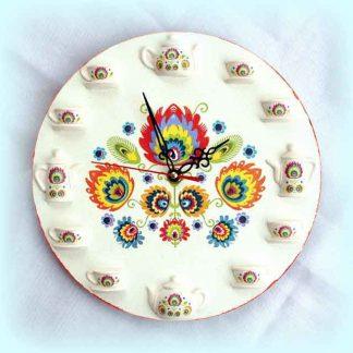 Ceas cu motiv traditional, flori stilizate culori vii, ceas perete 1658