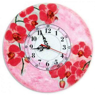 Ceas cu orhidee rosii pe fundal roz si verde, ceas de perete 5718