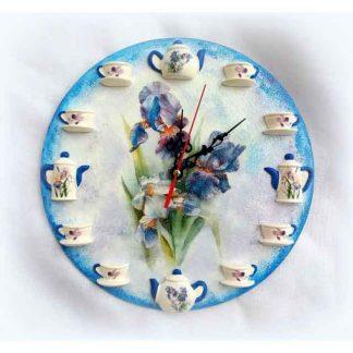 Ceas cu stanjenei, ceas de perete cu ceainice si cescute 3D 121024