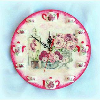 Ceas cu trandafiri rosii si roz in vaze de diferite forme, ceas perete 3D 1967