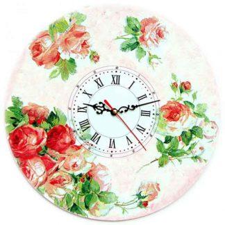 Ceas de perete cu cifre romane, ceas cu trandafiri rosii si roz 1272