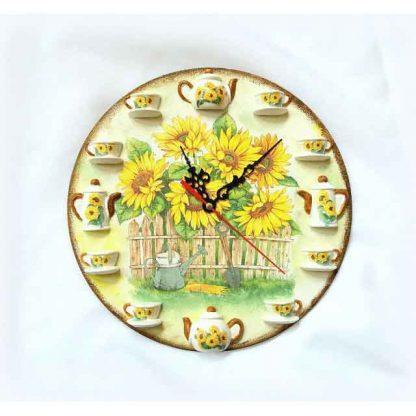 Ceas floarea soarelui si stropitoare cu lopata, ceas de perete 122936