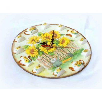 Ceas floarea soarelui si stropitoare cu lopata, ceas de perete 122936 vedere din lateral