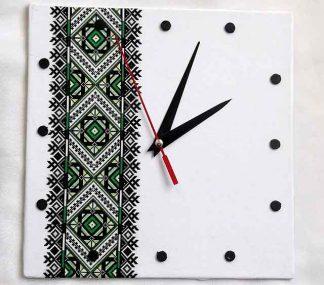 Ceas motiv traditional verde, galben si vernil cu negru, ceas perete 32025