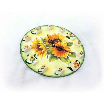 Ceas perete cu elemente tridimensionale, ceas cu floarea soarelui 131537 vedere din lateral