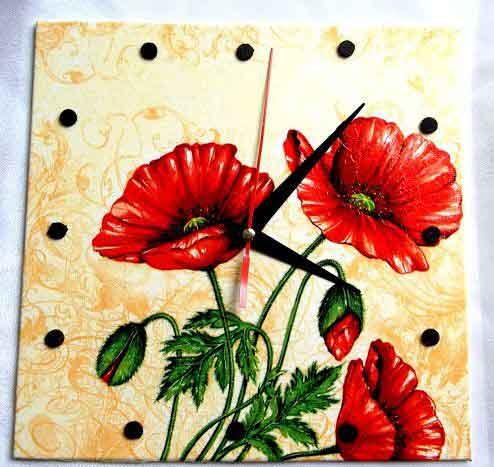 Ceas perete cu maci rosii, ceas de lemn model 32548