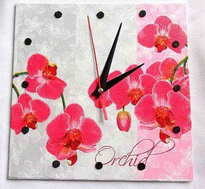 Ceas perete cu orhidee rosii, ceas simplu de perete 32547