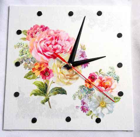 Ceas simplu cu model floral, ceas de perete 32549