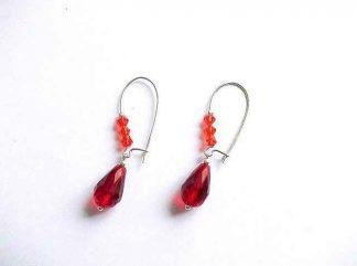 Cercei cristale rosu si portocaliu, cercei model 32691