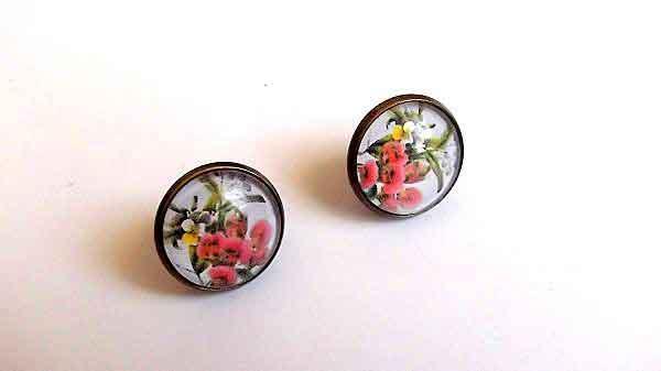 Cercei cu flori, cercei femei sticla si metal 32057