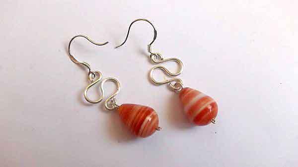 Cercei pietre portocaliu cu alb, cercei agate, cadou femei 32067