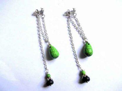 Cercei pietre semipretioase, cercei howlit verde 32530