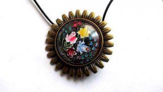 Colier sau brosa cu sticla si metal, bijuterie femei 32224