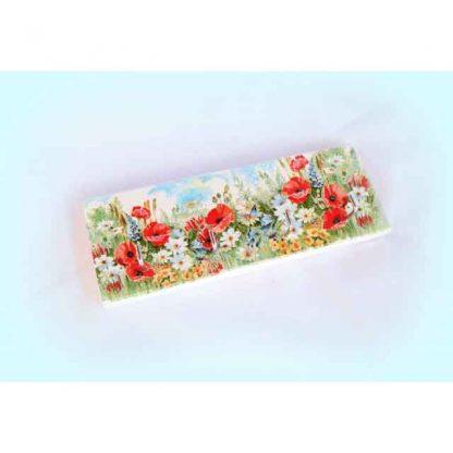 Cuier lemn 25 cm cu flori de camp in natura, cuier chei 1073