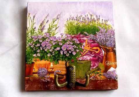Cuier lemn cu ghivece cu flori mov, cuier haine 32118