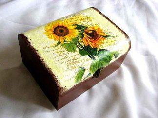 Cutie cu floarea soarelui pe fundal gen carte postala, cutie bijuterii 27417