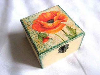 Cutie cu maci portocalii, cutie de lemn bijuterii 27769