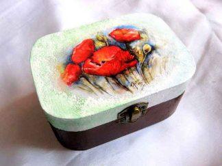 Cutie cu maci rosii si alte flori de camp, cutie lemn natural 27483