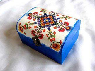 Cutie cu motiv traditional, flori stilizate viu colorate, cutie bijuterii 27413