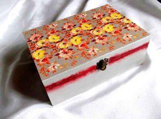 Cutie cu sertare detasabile si model floral, cutie lemn 32750